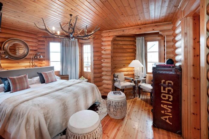 интерьер бревенчатого дома в скандинавском стиле