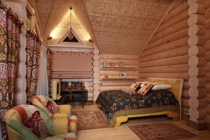 интерьер бревенчатого дома в русском стиле