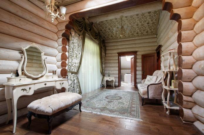 мебель и декор в интерьере бревенчатого дома