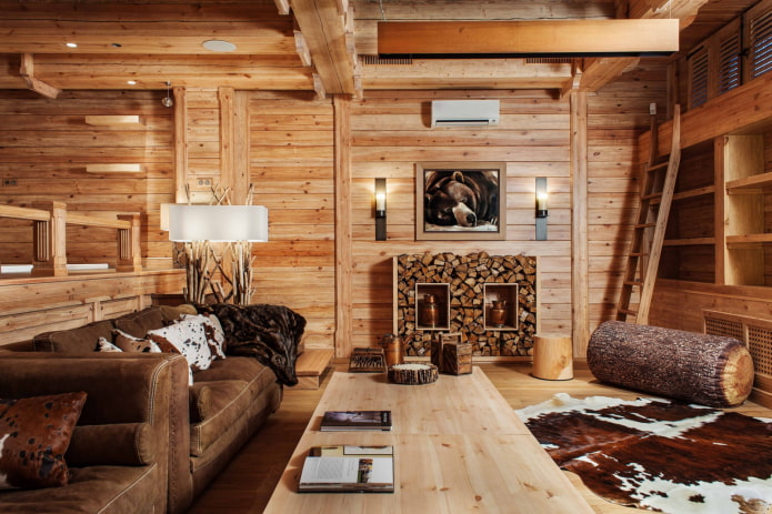 интерьер бревенчатого дома в стиле шале