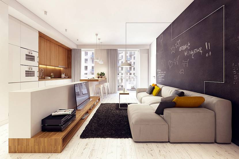 Грифельная стенка в гостиной